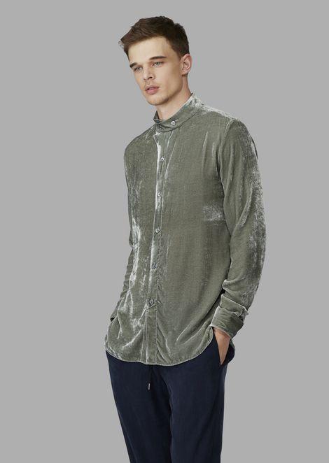 Regular-fit, guru collar shirt in exclusive fabric