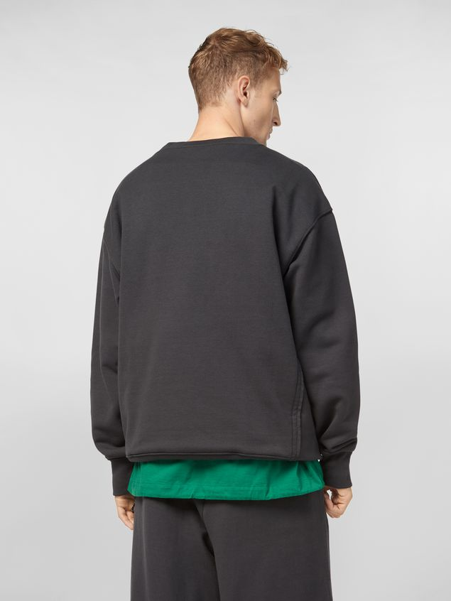 Marni Sweatshirt in compact cotton jersey with asymmetric bottom gray Man