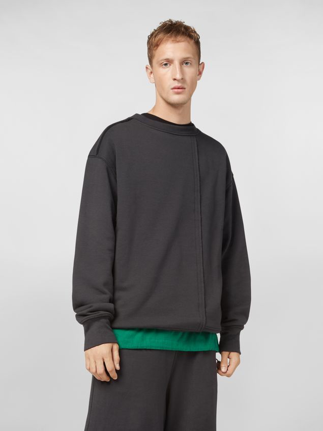 Marni Sweatshirt in compact cotton jersey with asymmetric bottom gray Man - 1