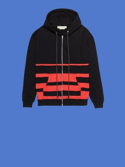 Marni Sweatshirt in striped felted cotton jersey with drawstring Man