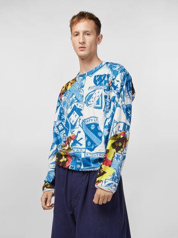 Marni コットンジャージー スウェットシャツ ロングスリーブ Modularプリント メンズ
