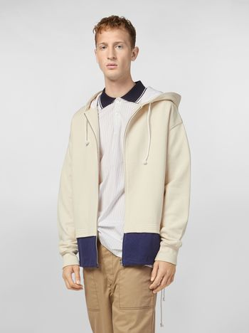 Marni Hooded sweatshirt in cotton jersey with contrast bottom Man
