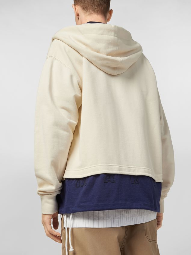 Marni Hooded sweatshirt in cotton jersey with contrast bottom Man - 4