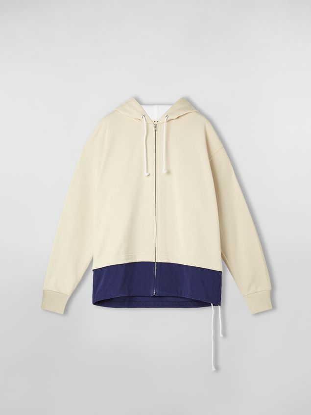 Marni Hooded sweatshirt in cotton jersey with contrast bottom Man - 2