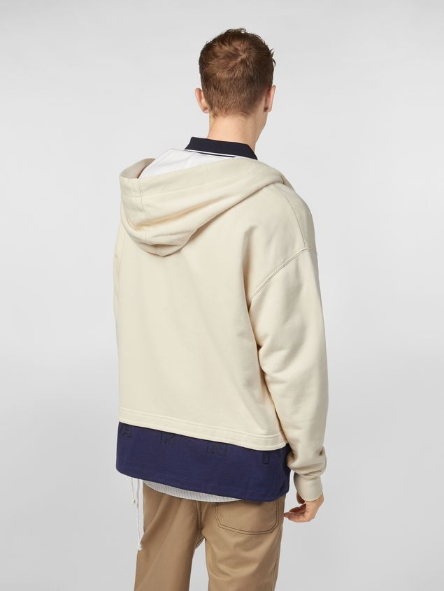 Marni Hooded sweatshirt in cotton jersey with contrast bottom Man - 3