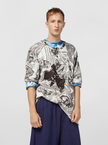 Marni コットンジャージー スウェットシャツ ショートスリーブ Modularプリント メンズ