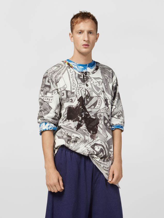 Marni Short-sleeved sweatshirt in cotton jersey Modular print Man - 1