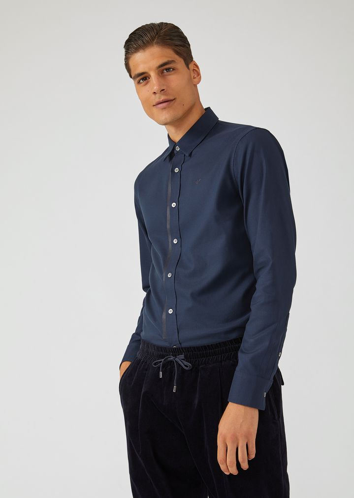 23a7ff7d05 Shirt in micro patterned pure cotton with detachable collar | Man ...
