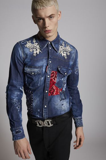 DSQUARED2 Denim shirt Man S71DM0214S30544470 m
