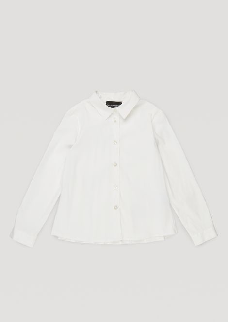 Stretch poplin shirt with pleated back