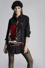 DSQUARED2 Cotton Poplin Punk Print Boxy Side Zipped Shirt Shirt Woman