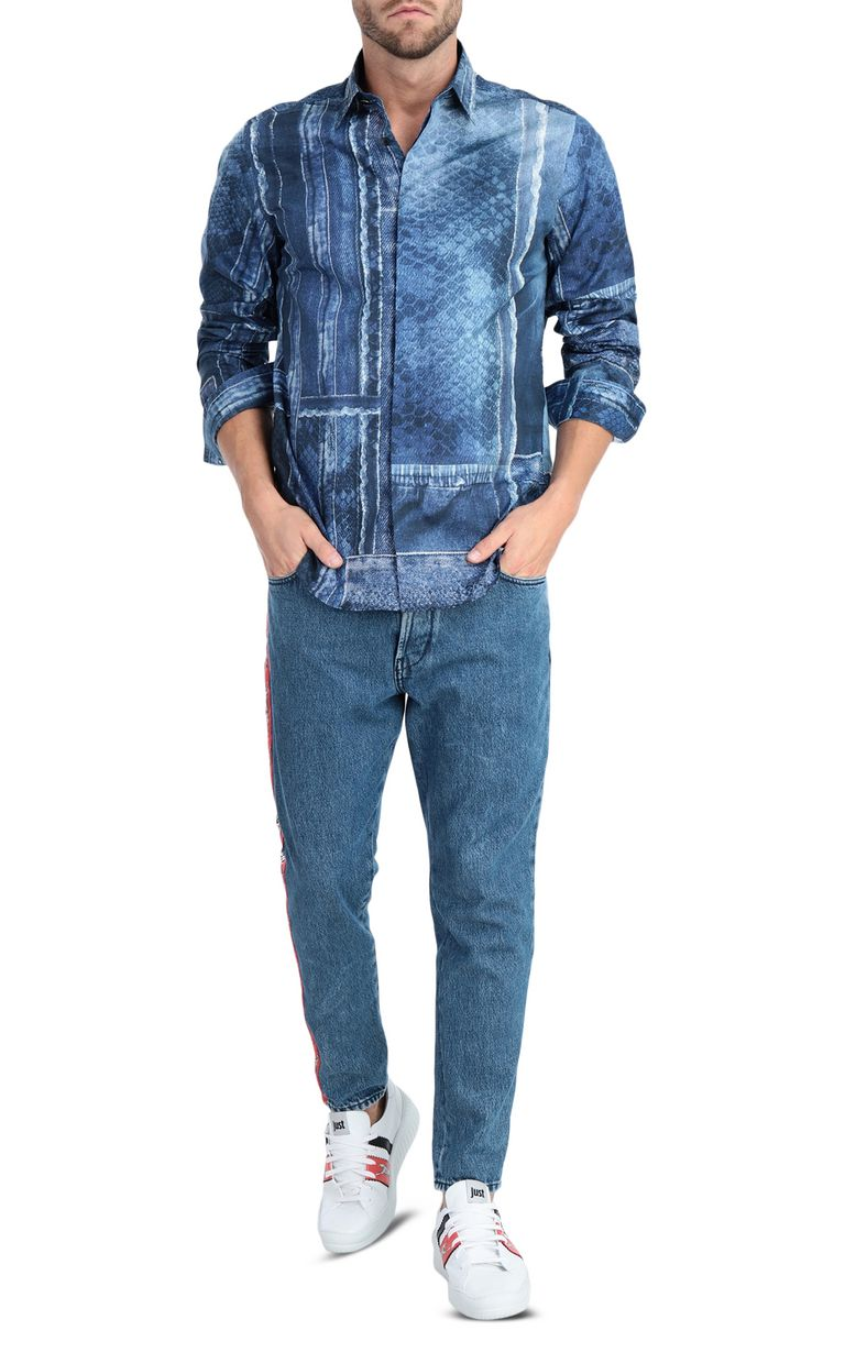 JUST CAVALLI Denimflage shirt Long sleeve shirt [*** pickupInStoreShippingNotGuaranteed_info ***] d
