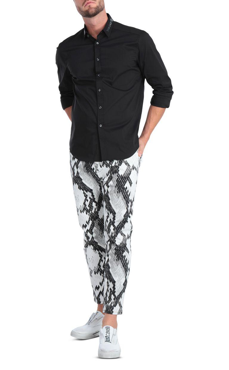 JUST CAVALLI Black shirt with animal-print band Long sleeve shirt [*** pickupInStoreShippingNotGuaranteed_info ***] d