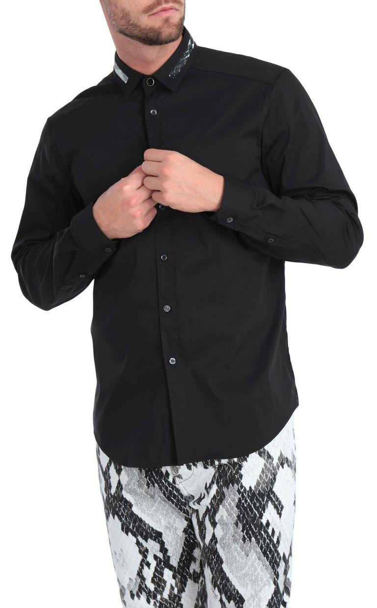 JUST CAVALLI Black shirt with animal-print band Long sleeve shirt [*** pickupInStoreShippingNotGuaranteed_info ***] f