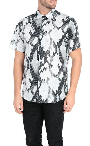 JUST CAVALLI Short sleeve shirt Man Flamingo-flower-print shirt f