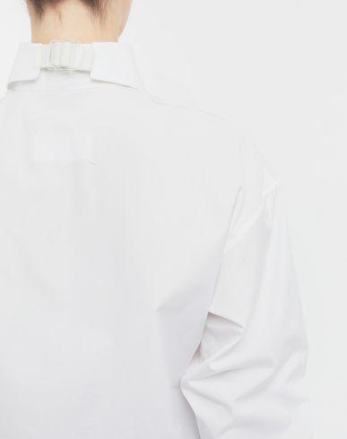 SHIRTS Cropped buckled collar cotton-poplin shirt