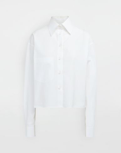 Cropped buckled collar cotton-poplin shirt