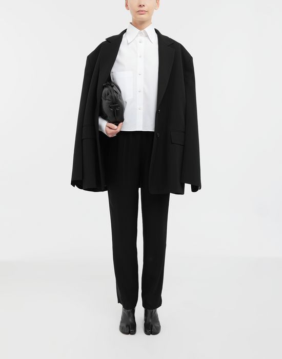 MAISON MARGIELA Cropped buckled collar cotton-poplin shirt Long sleeve shirt [*** pickupInStoreShipping_info ***] d