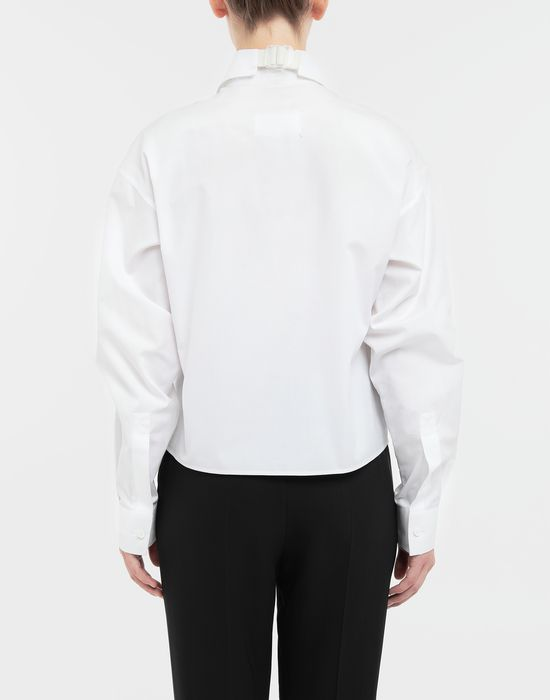 MAISON MARGIELA Cropped buckled collar cotton-poplin shirt Long sleeve shirt [*** pickupInStoreShipping_info ***] e