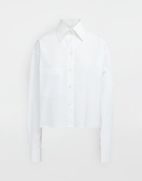 MAISON MARGIELA Cropped buckled collar cotton-poplin shirt Long sleeve shirt [*** pickupInStoreShipping_info ***] f