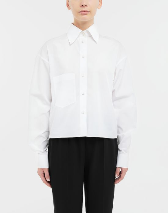 MAISON MARGIELA Cropped buckled collar cotton-poplin shirt Long sleeve shirt [*** pickupInStoreShipping_info ***] r