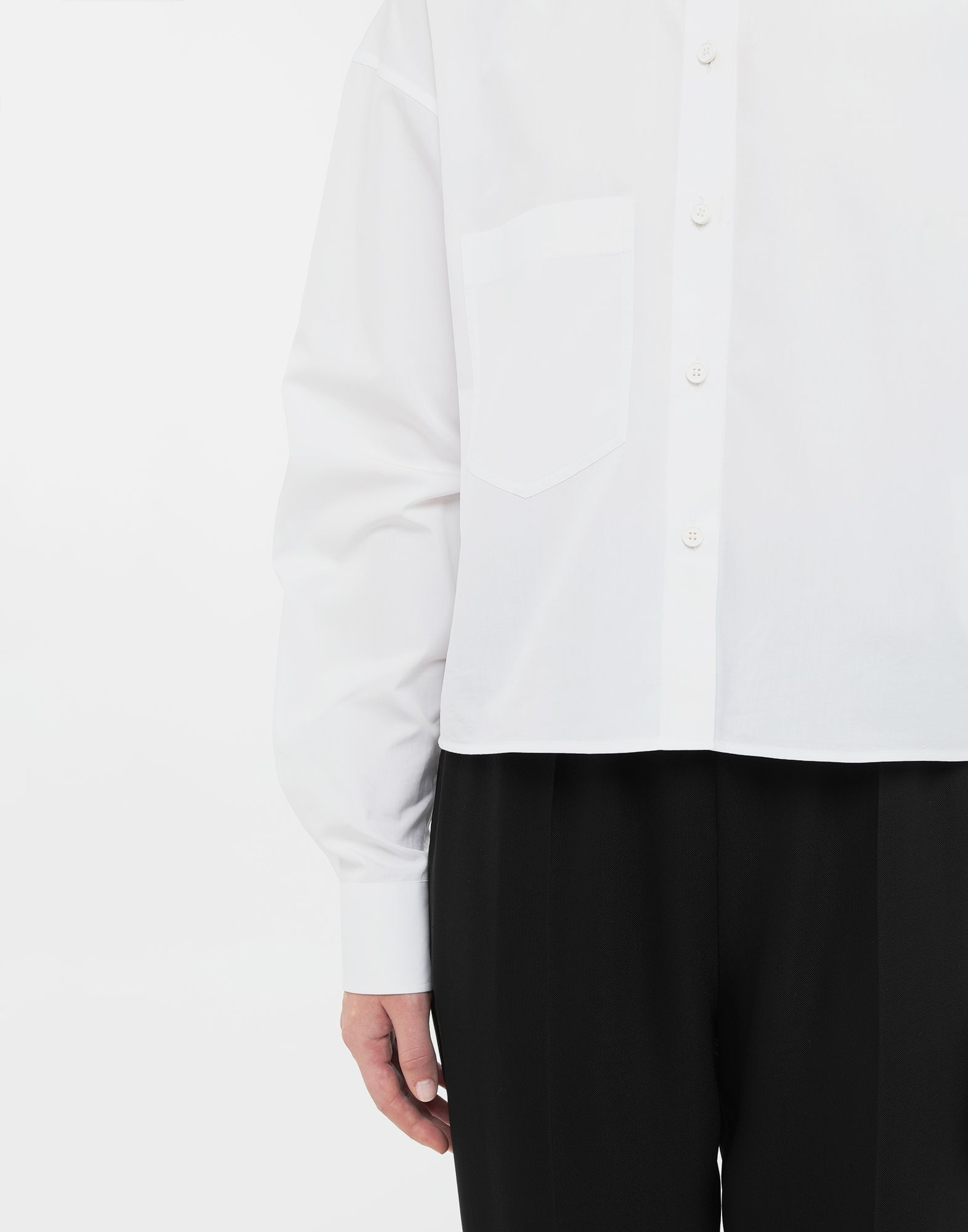 MAISON MARGIELA Cropped buckled collar cotton-poplin shirt Long sleeve shirt Woman a