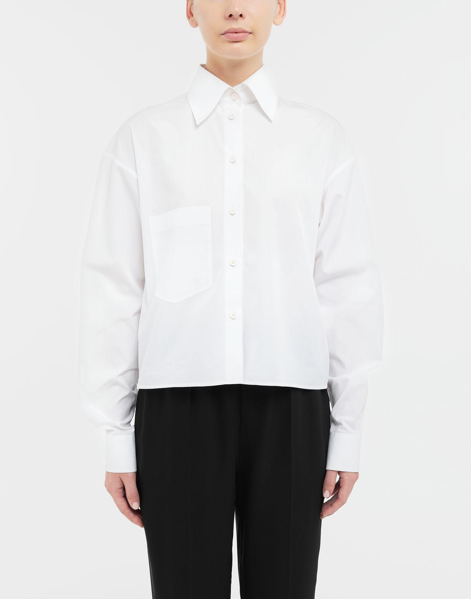 MAISON MARGIELA Cropped buckled collar cotton-poplin shirt Long sleeve shirt Woman r
