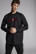 DSQUARED2 Stretch Poplin Shirt With Chest Punk Logo Tape Detail  Shirt Man