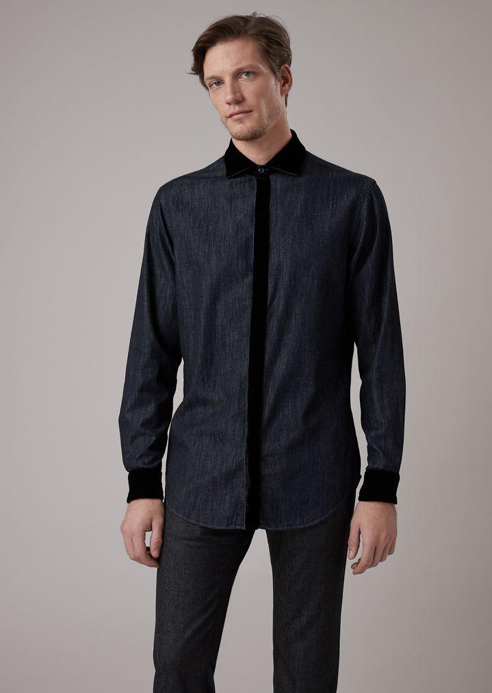 Camisa denim Armani cuello de de con Giorgio Hombre de algodón terciopelo puños y 55xrHn