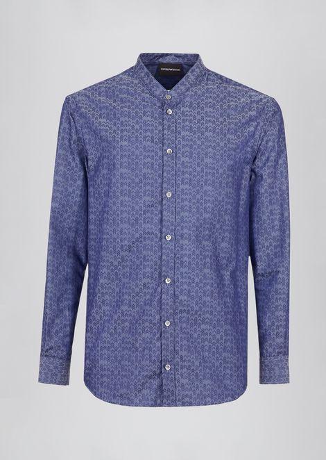 Shirt in jacquard cotton with guru collar