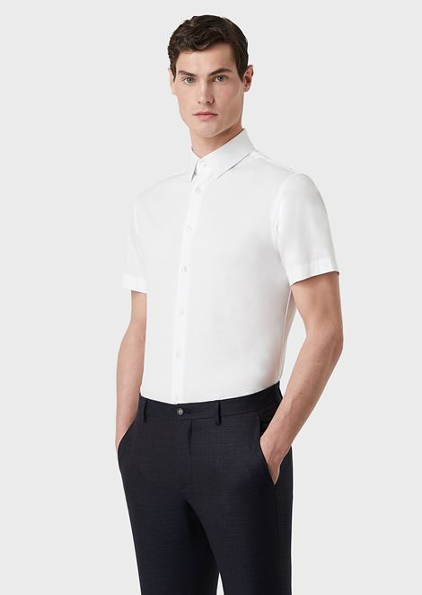 Short-sleeved, slim-fit shirt in plain-coloured jersey