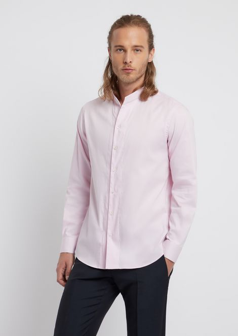 Twill cotton shirt with mandarin collar