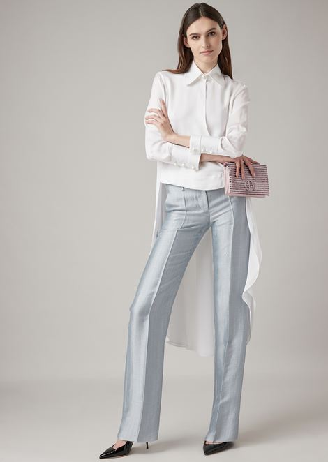 Asymmetric silk charmeuse shirt with rear tail