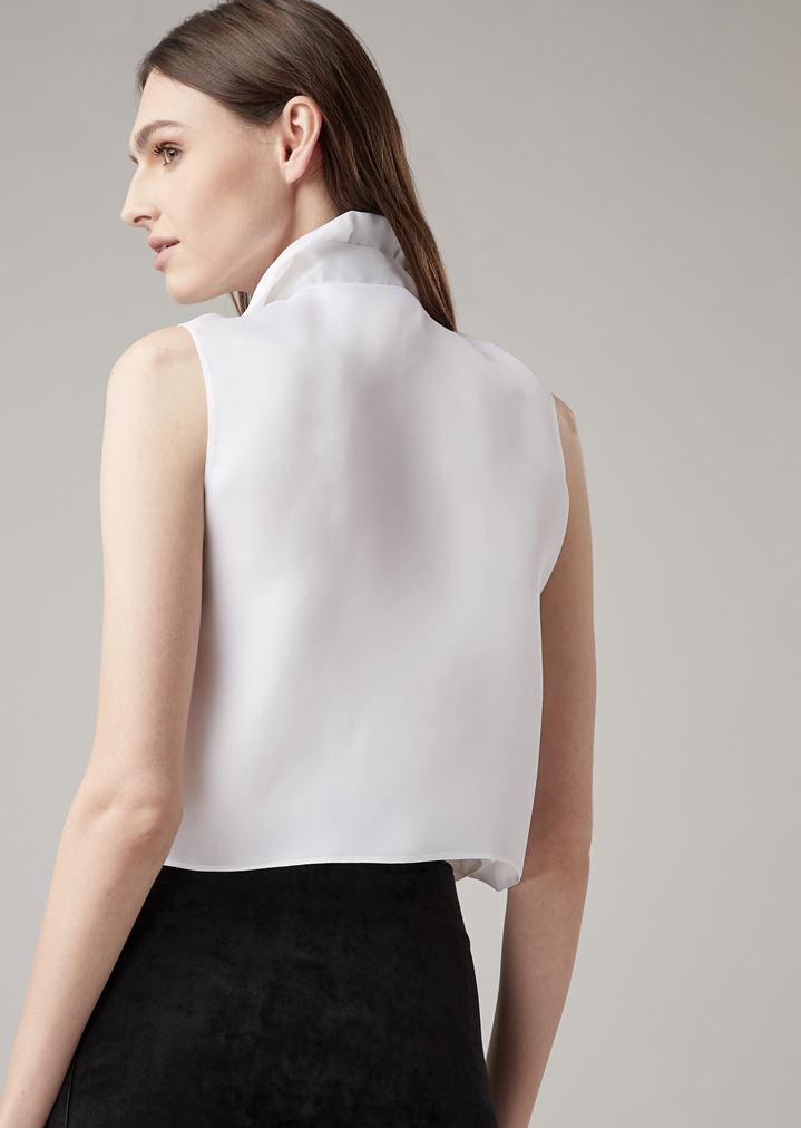 fb7e620e1c0 Tuxedo top in silk organza with detachable bow tie | Woman | Giorgio ...