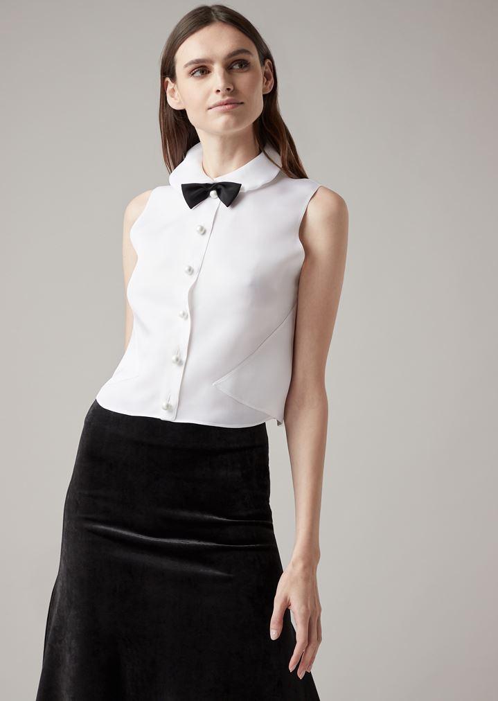 cde207f9726 Tuxedo top in silk organza with detachable bow tie | Woman | Giorgio Armani