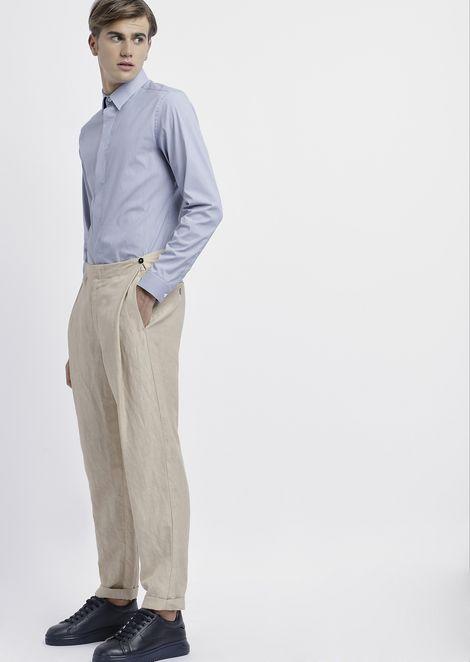 Camisa de algodón a rayas elástico