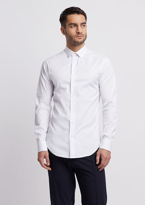 Slim fit stretch cotton denim shirt