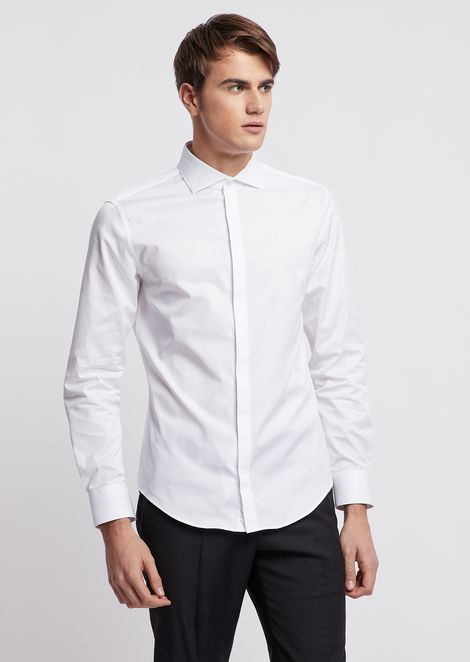 Shirt in pure micro-textured cotton