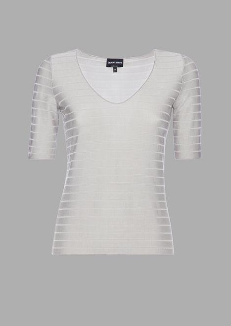 Glossy viscose rib knit with horizontal stripe