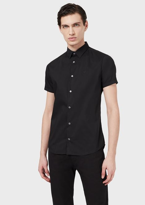 Short-sleeved slim-fit poplin shirt