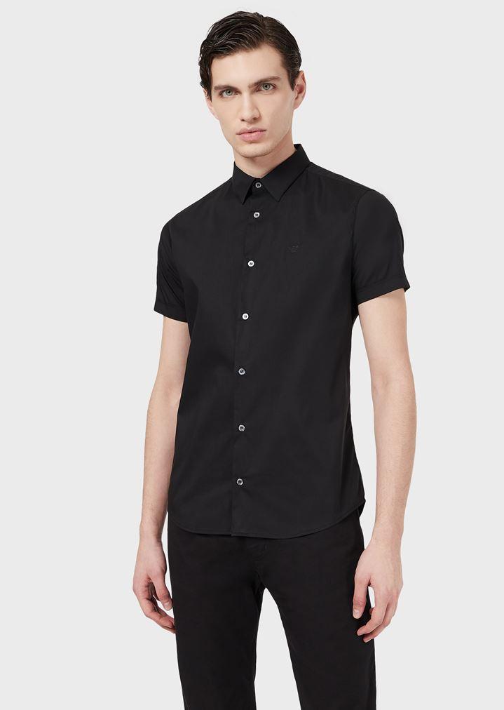 cb9d01e928b43b Short-sleeved slim-fit poplin shirt   Man   Emporio Armani