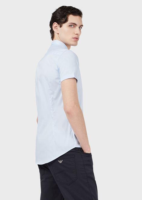 Short-sleeved slim-fit poplin shirt