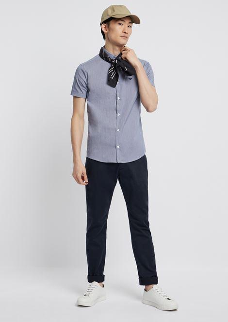 Chemise à coupe slim et manches courtes en popeline