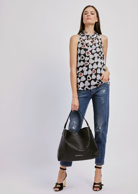 Crepon top with all-over heart pattern