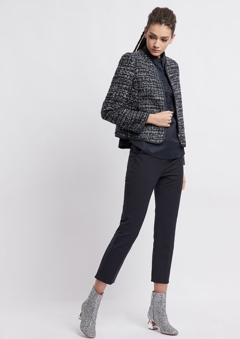 Stretch poplin shirt with short puff sleeves