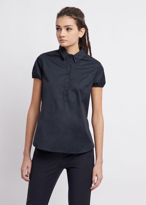Camisa de popelina elástica con manga globo corta