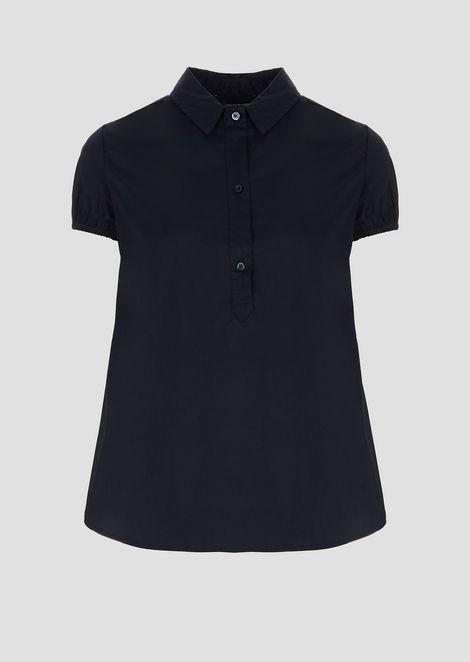 シャツ ストレッチポプリン製 半袖パフスリーブ