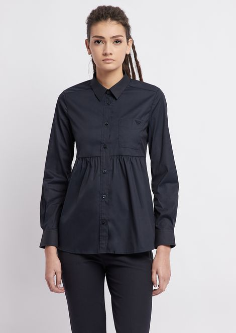 Stretch poplin shirt with pleated peplum