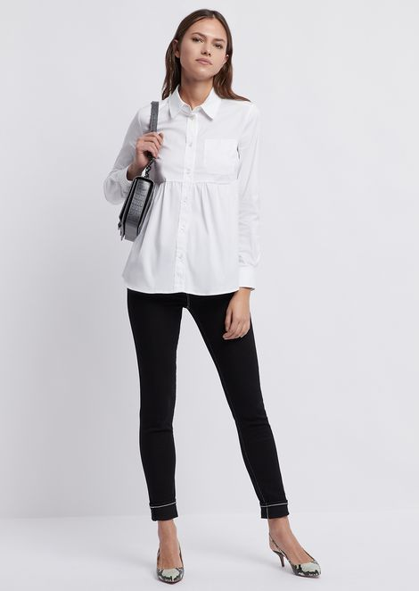 Poplin shirt with frill and chest pocket