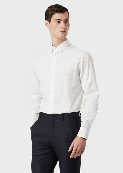 Regular-fit shirt in seersucker fabric